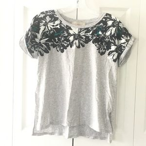 womens floral grey tee